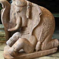 Hand Carved Sandstone Sitting Elephant, Orissa (one of a pair but sold separately)